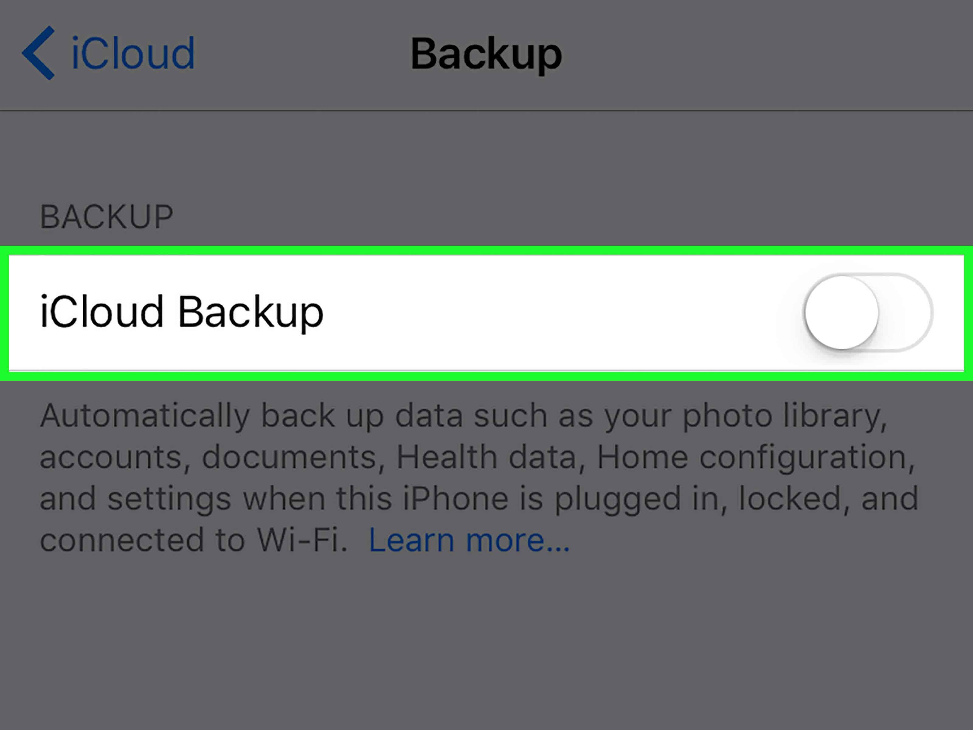 Enable automatic iCloud backups on iPhone or iPad