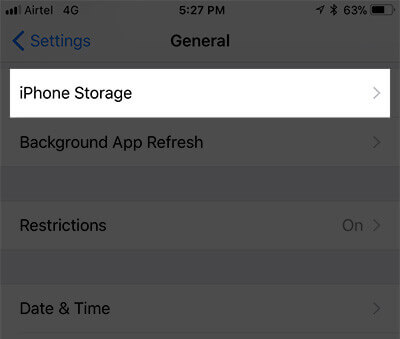 Tab iPhone iPad Storage in Settings
