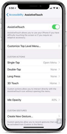 iPhone X Assistive Touch Setup Options