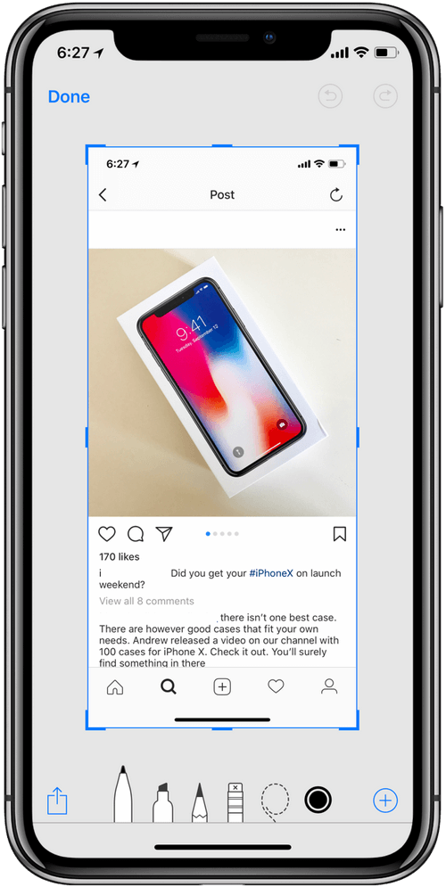 iPhone x Instant markup Tool