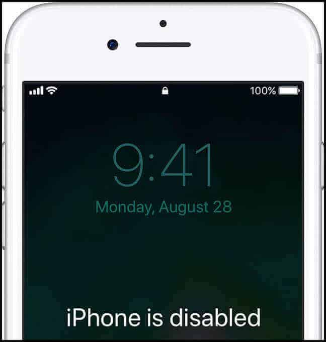 iPhone Is Disabled Notificaion