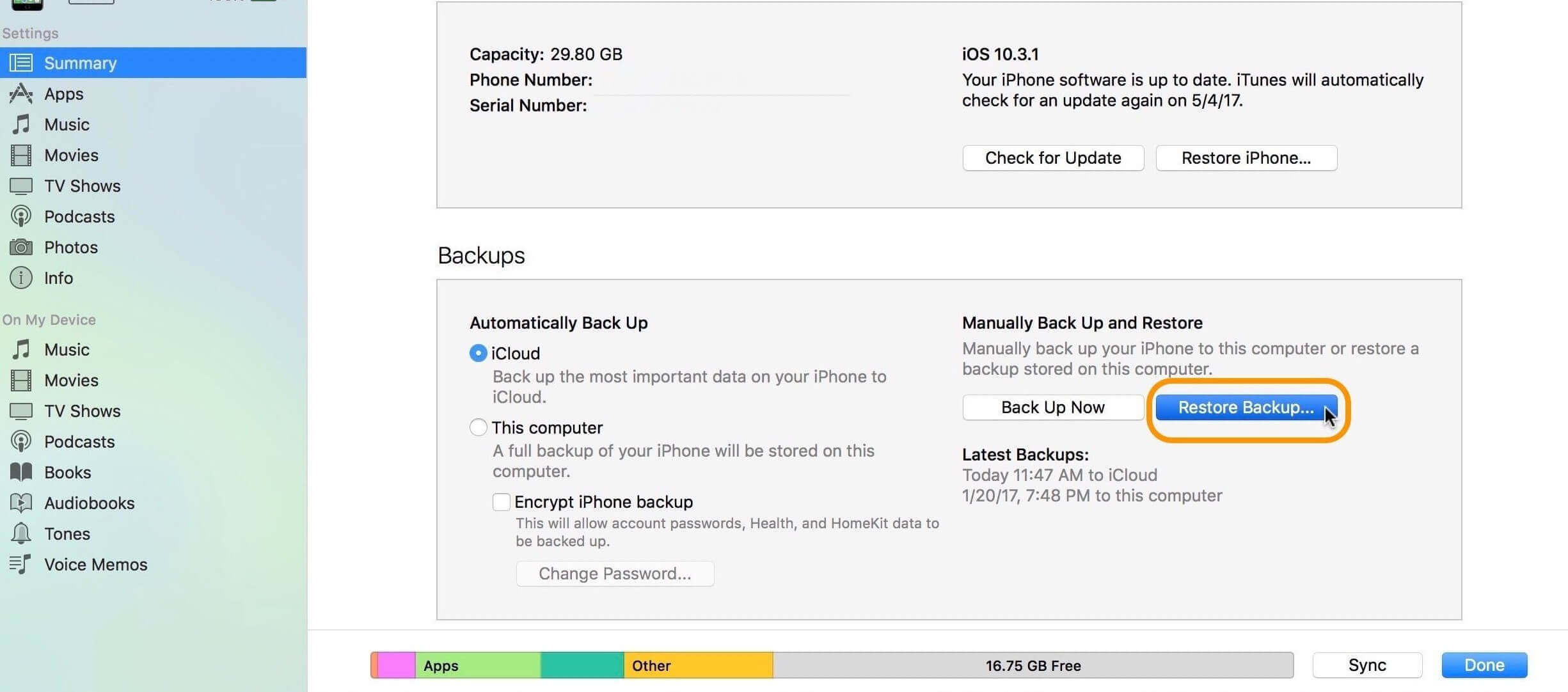 restore Backup From iTunes To iPhone