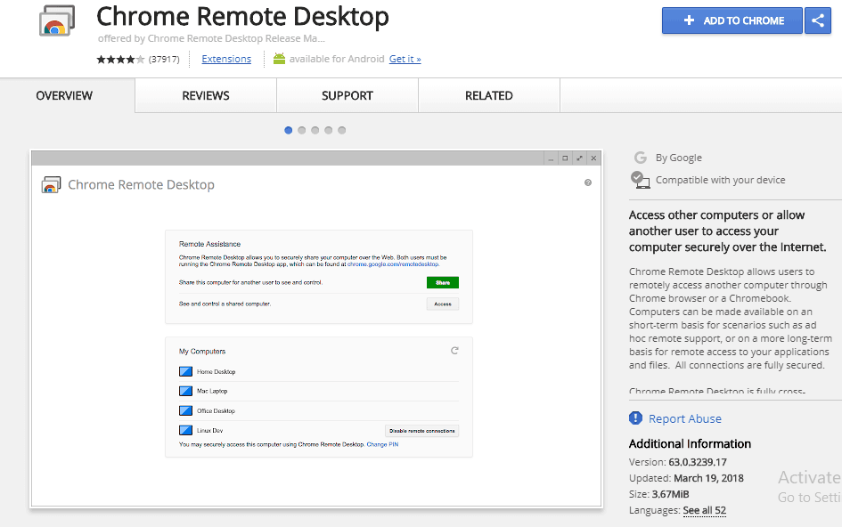 chrome remote desktop extension for iMessage on PC