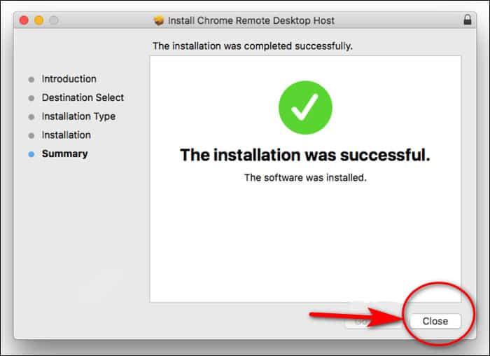installation was successful dialogue box