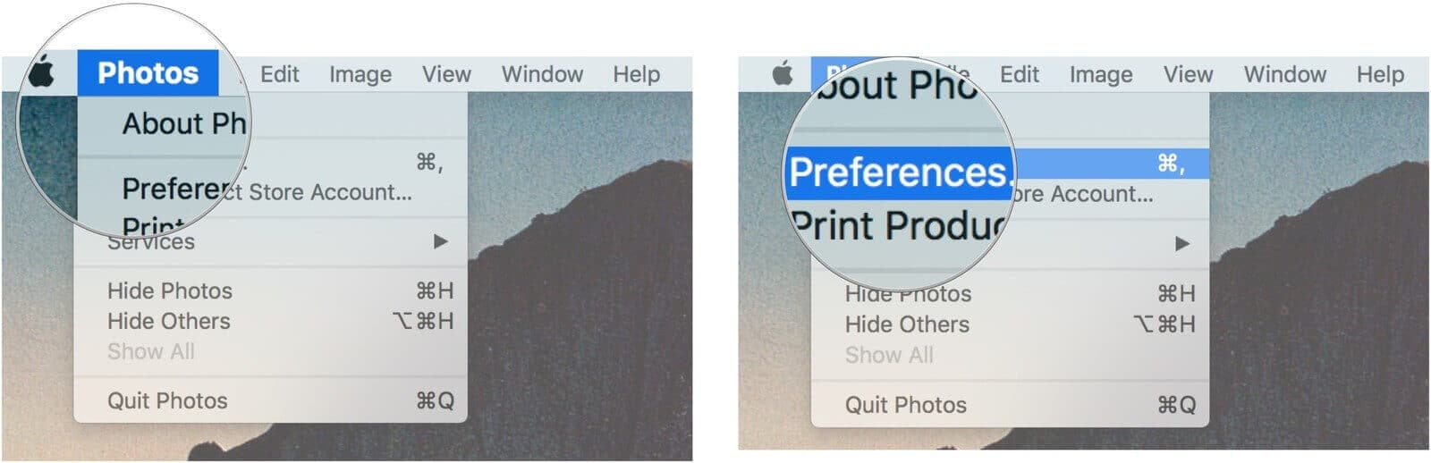 Choose photos and prefrences