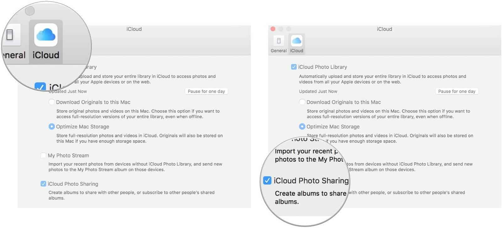 select iCloud and then check i cloud photo sharing