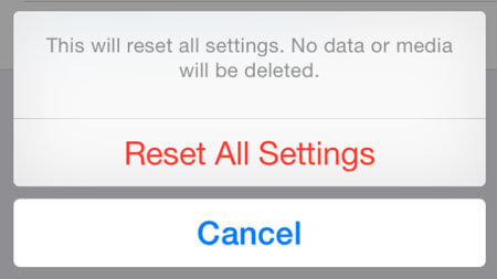 Confirm Reset All Settings