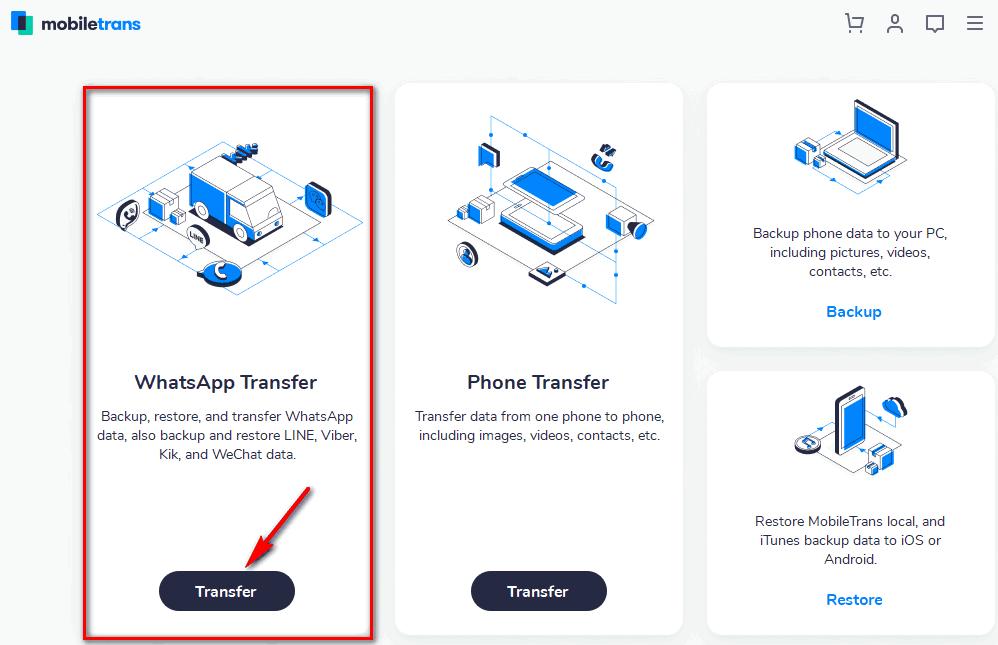Whatsapp transfer MobileTrans Feature