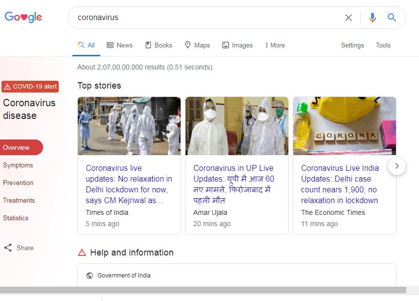 google corona virus information