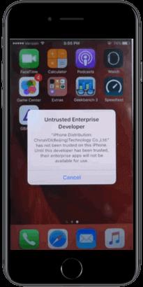 iPhone Untrusted Enterprise Developer Error
