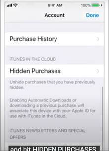 Go To Hidden Purchases in iCloud iPhone
